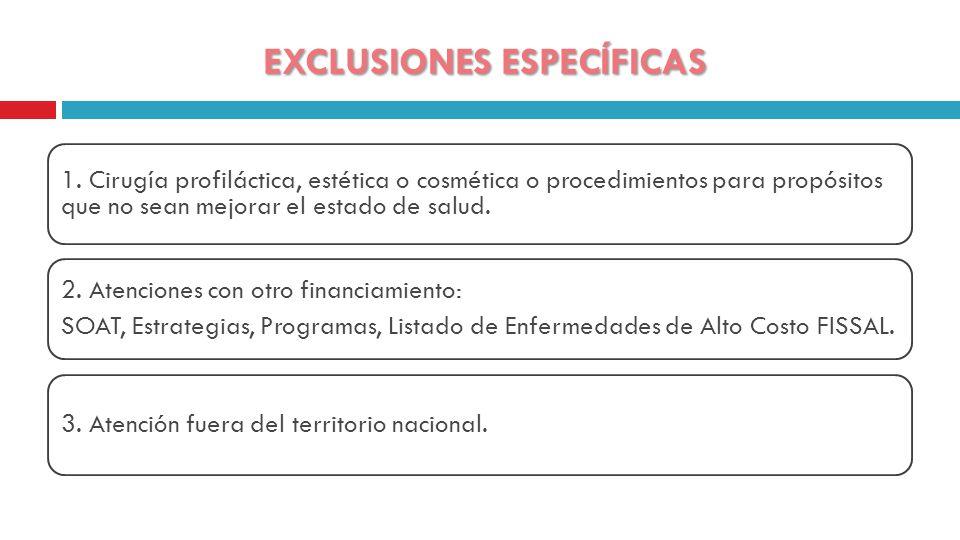 EXCLUSIONES ESPECÍFICAS 1.