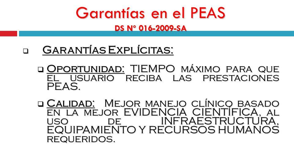 Garantías en el PEAS DS Nº 016-2009-SA Garantías Explícitas: Garantías Explícitas: Oportunidad: TIEMPO máximo para que el usuario reciba las prestaciones PEAS.