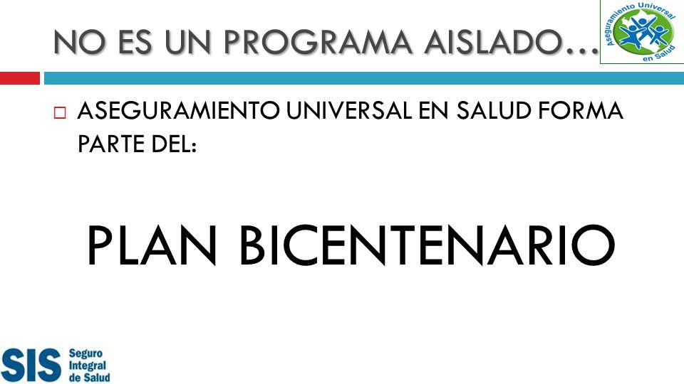 NO ES UN PROGRAMA AISLADO… ASEGURAMIENTO UNIVERSAL EN SALUD FORMA PARTE DEL: PLAN BICENTENARIO
