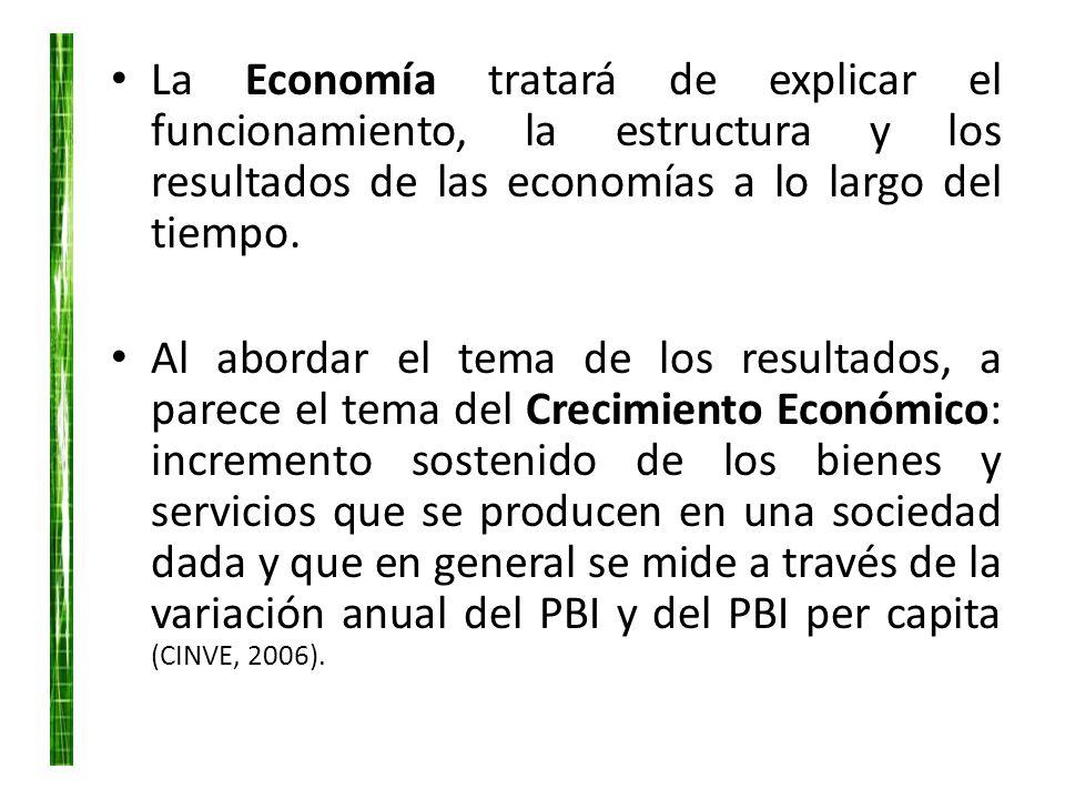 La Economía tratará de explicar el funcionamiento, la estructura y los resultados de las economías a lo largo del tiempo. Al abordar el tema de los re