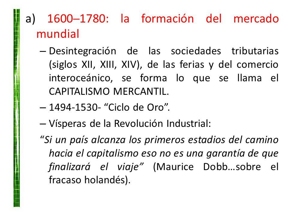 a) 16001780: la formación del mercado mundial – Desintegración de las sociedades tributarias (siglos XII, XIII, XIV), de las ferias y del comercio int