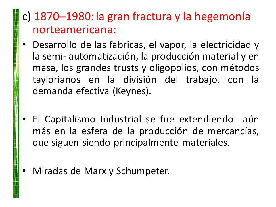 c) 18701980: la gran fractura y la hegemonía norteamericana: Desarrollo de las fabricas, el vapor, la electricidad y la semi- automatización, la produ