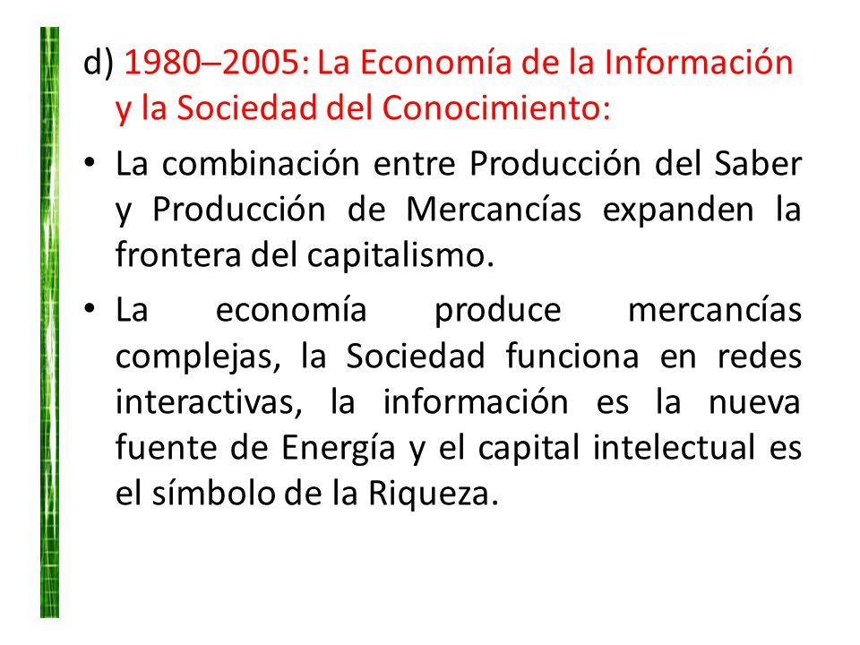 d) 19802005: La Economía de la Información y la Sociedad del Conocimiento: La combinación entre Producción del Saber y Producción de Mercancías expand