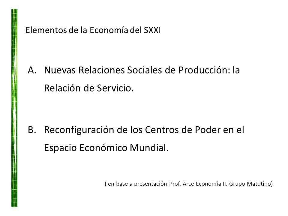 Elementos de la Economía del SXXI A.Nuevas Relaciones Sociales de Producción: la Relación de Servicio. B.Reconfiguración de los Centros de Poder en el