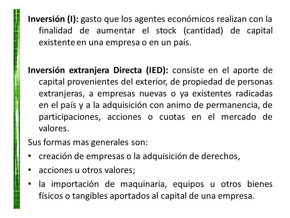 Inversión (I): gasto que los agentes económicos realizan con la finalidad de aumentar el stock (cantidad) de capital existente en una empresa o en un