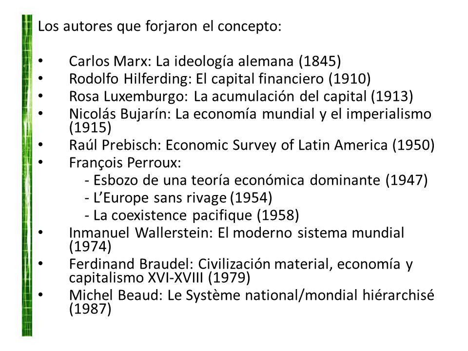 Los autores que forjaron el concepto: Carlos Marx: La ideología alemana (1845) Rodolfo Hilferding: El capital financiero (1910) Rosa Luxemburgo: La ac
