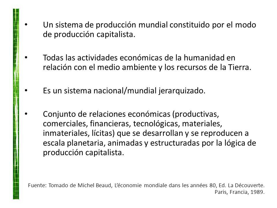 Un sistema de producción mundial constituido por el modo de producción capitalista. Todas las actividades económicas de la humanidad en relación con e
