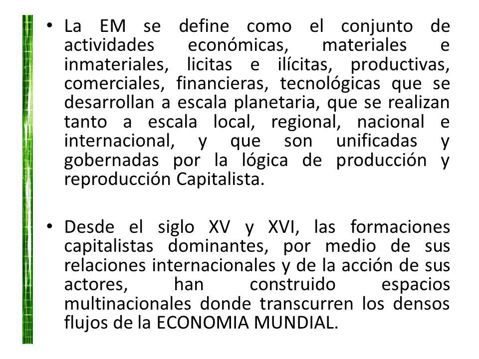 La EM se define como el conjunto de actividades económicas, materiales e inmateriales, licitas e ilícitas, productivas, comerciales, financieras, tecn