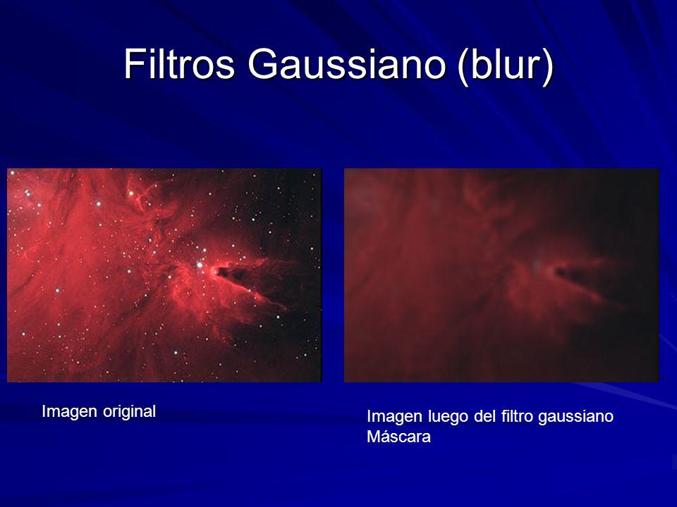 Filtros Gaussiano (blur) Imagen original Imagen luego del filtro gaussiano Máscara