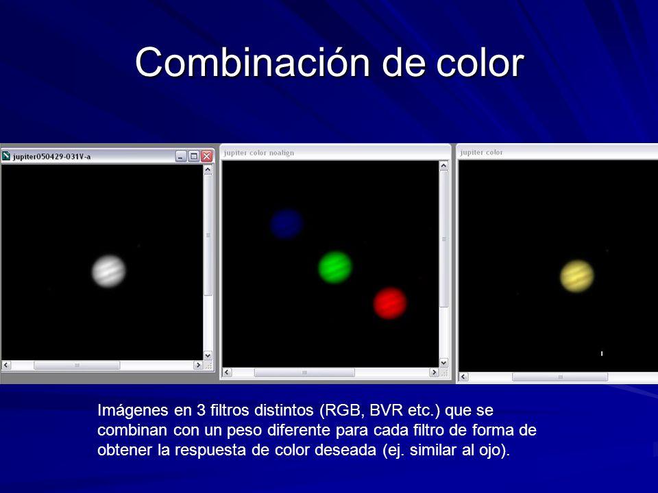 Combinación de color Imágenes en 3 filtros distintos (RGB, BVR etc.) que se combinan con un peso diferente para cada filtro de forma de obtener la res