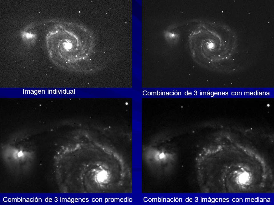 Imagen individual Combinación de 3 imágenes con mediana Combinación de 3 imágenes con promedio