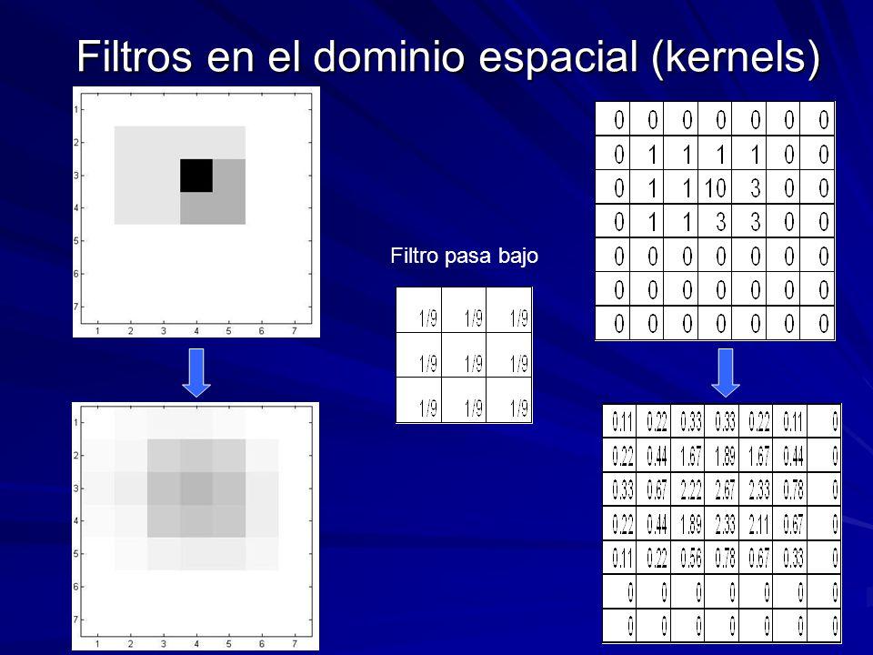 Filtros en el dominio espacial (kernels) Filtro pasa bajo