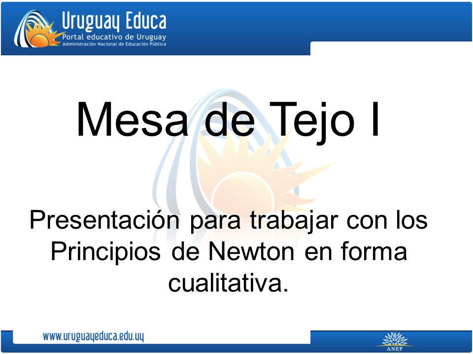 Mesa de Tejo I Presentación para trabajar con los Principios de Newton en forma cualitativa.