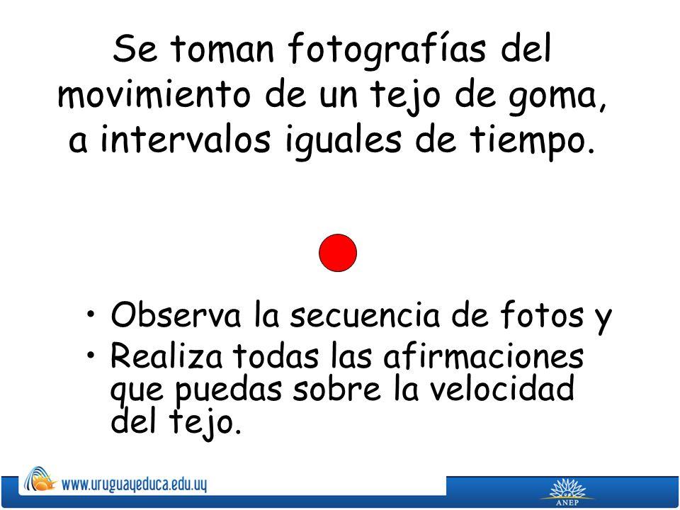 Se toman fotografías del movimiento de un tejo de goma, a intervalos iguales de tiempo.