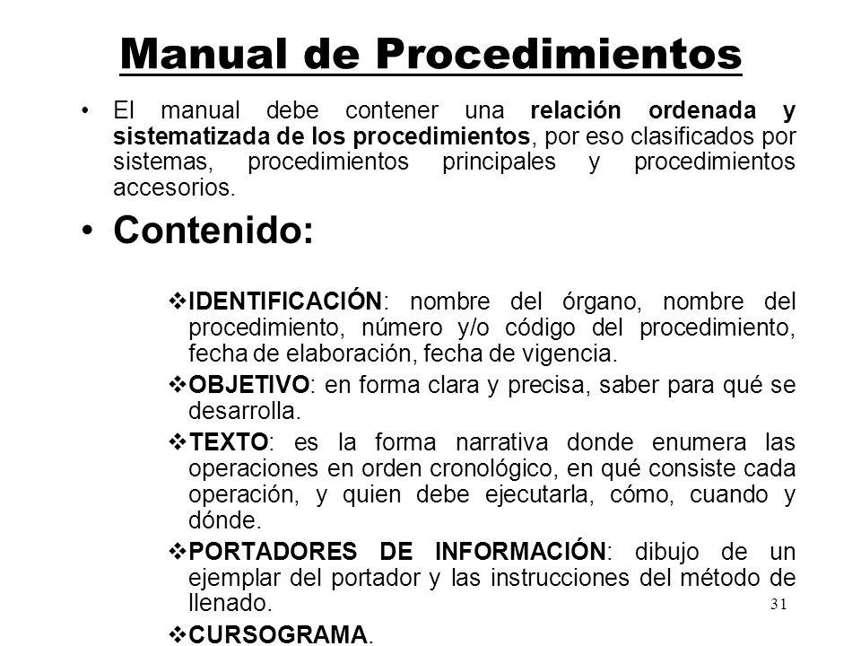 31 Manual de Procedimientos El manual debe contener una relación ordenada y sistematizada de los procedimientos, por eso clasificados por sistemas, pr