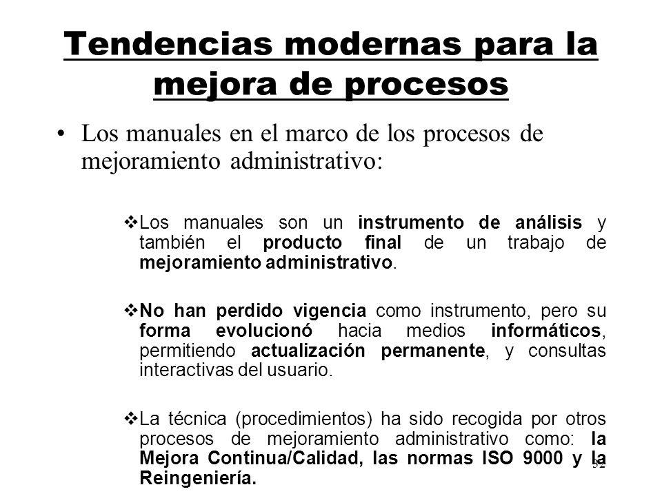 32 Tendencias modernas para la mejora de procesos Los manuales en el marco de los procesos de mejoramiento administrativo: Los manuales son un instrum