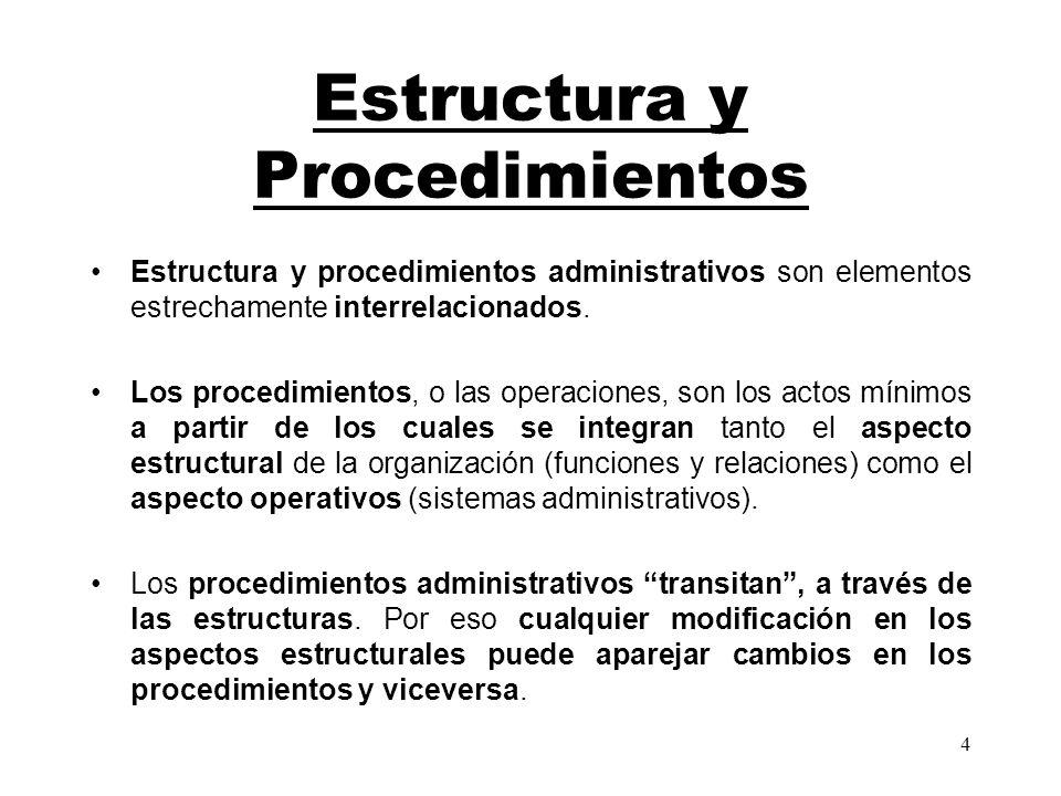 4 Estructura y Procedimientos Estructura y procedimientos administrativos son elementos estrechamente interrelacionados. Los procedimientos, o las ope
