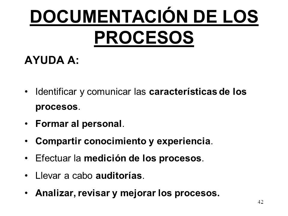 42 DOCUMENTACIÓN DE LOS PROCESOS AYUDA A: Identificar y comunicar las características de los procesos. Formar al personal. Compartir conocimiento y ex