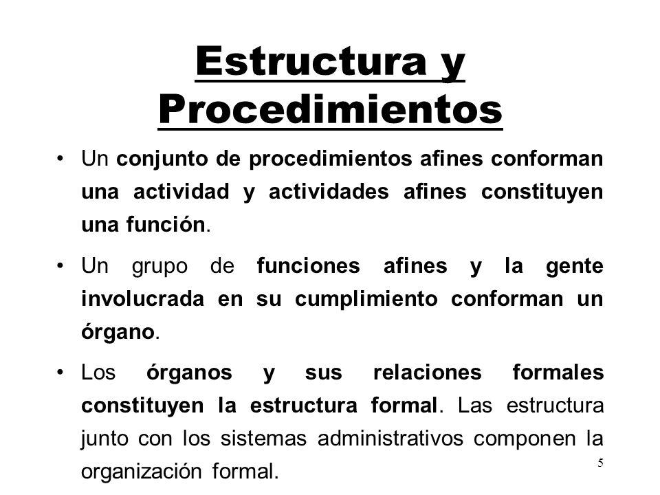 5 Estructura y Procedimientos Un conjunto de procedimientos afines conforman una actividad y actividades afines constituyen una función. Un grupo de f
