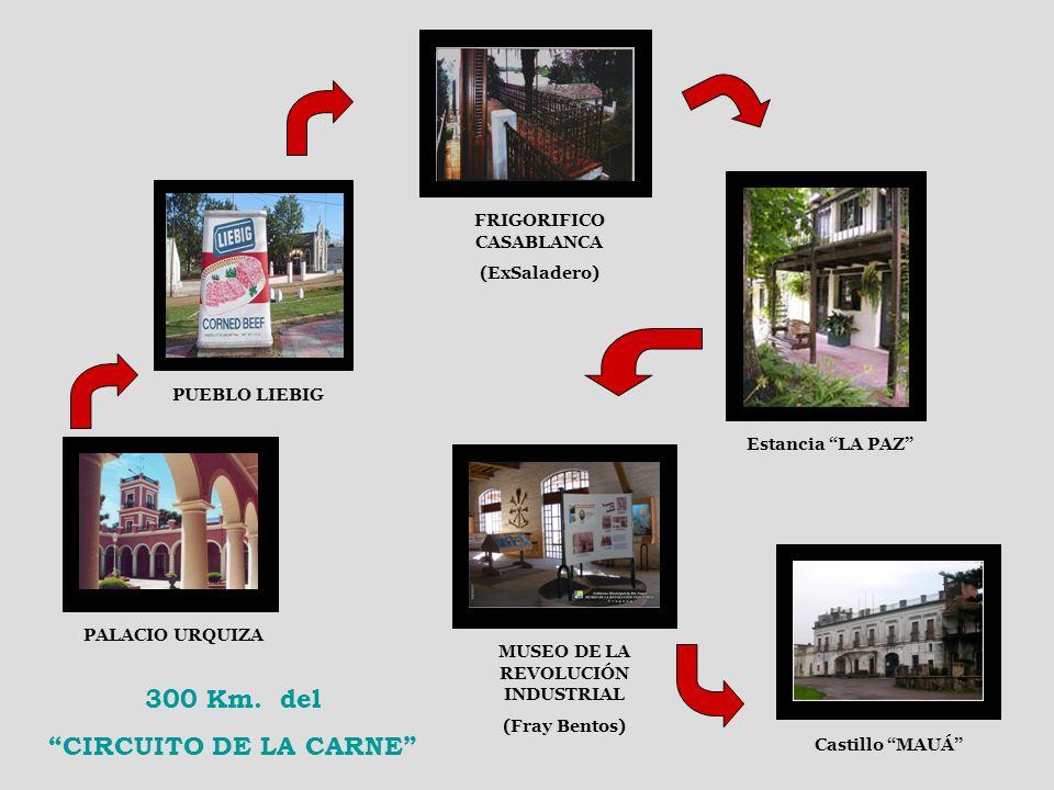 PALACIO URQUIZA PUEBLO LIEBIG FRIGORIFICO CASABLANCA (ExSaladero) Estancia LA PAZ MUSEO DE LA REVOLUCIÓN INDUSTRIAL (Fray Bentos) Castillo MAUÁ 300 Km.