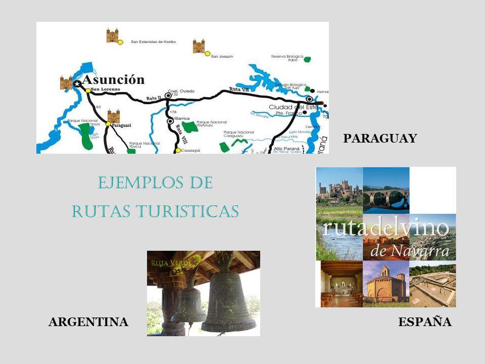 Ejemplos de RUTAS TURISTICAS PARAGUAY ESPAÑAARGENTINA