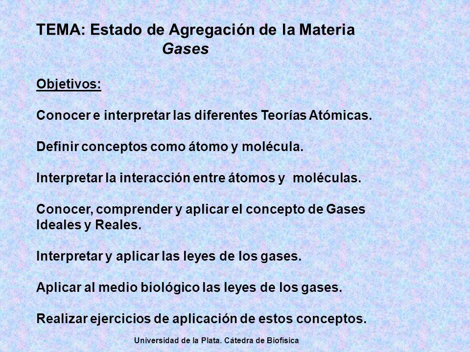 TEMA: Estado de Agregación de la Materia Gases Objetivos: Conocer e interpretar las diferentes Teorías Atómicas.
