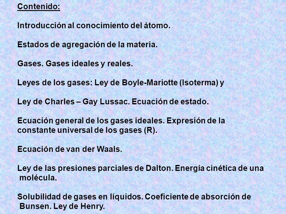 Contenido: Introducción al conocimiento del átomo.