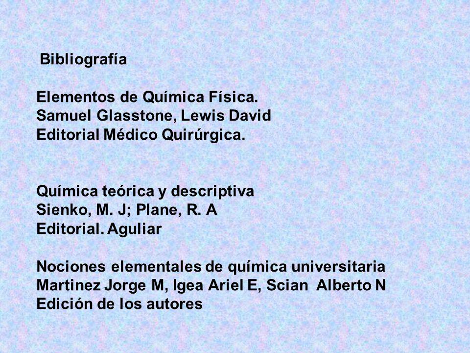 Bibliografía Elementos de Química Física.