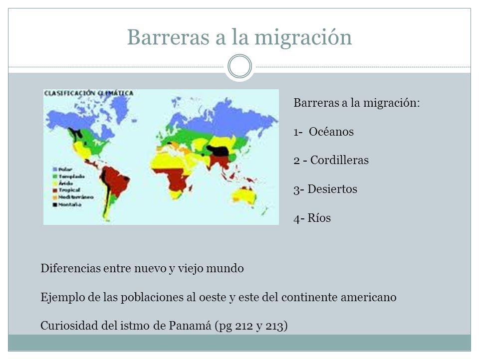 Barreras a la migración Barreras a la migración: 1- Océanos 2 - Cordilleras 3- Desiertos 4- Ríos Diferencias entre nuevo y viejo mundo Ejemplo de las