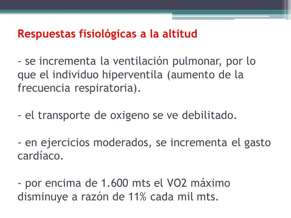 Respuestas fisiológicas a la altitud - se incrementa la ventilación pulmonar, por lo que el individuo hiperventila (aumento de la frecuencia respirato