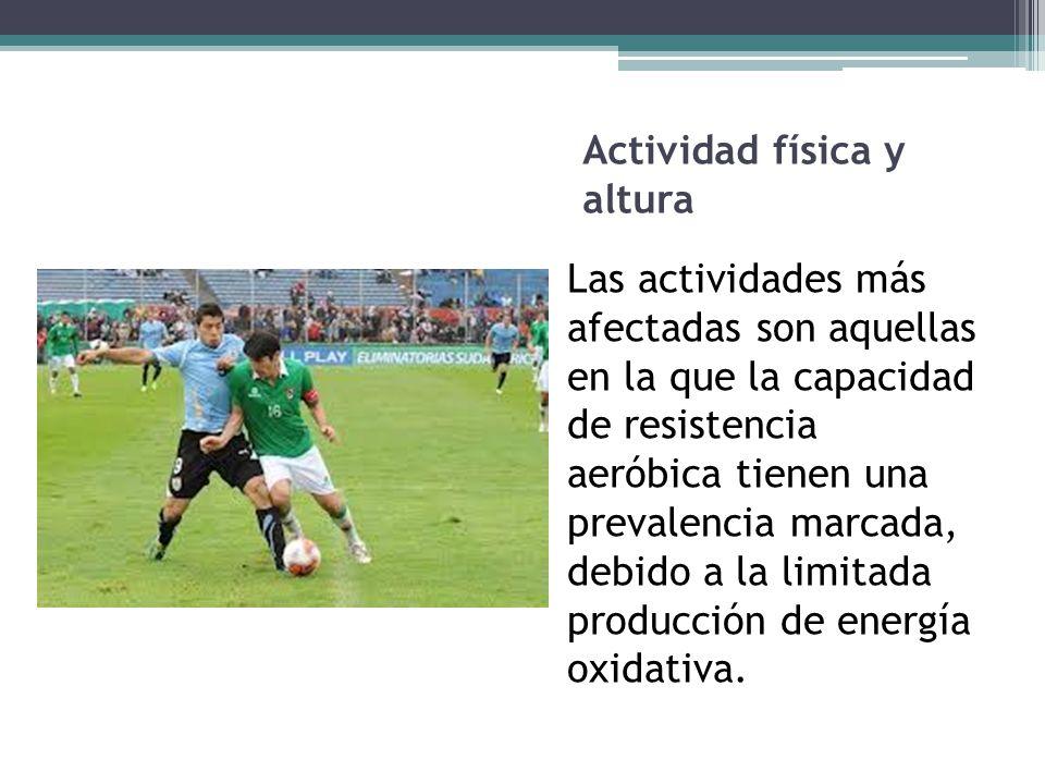 Actividad física, deporte y altura Las pruebas o actividades anaeróbicas de velocidad que duren menos de un minuto no se verán afectadas en alturas moderadas.