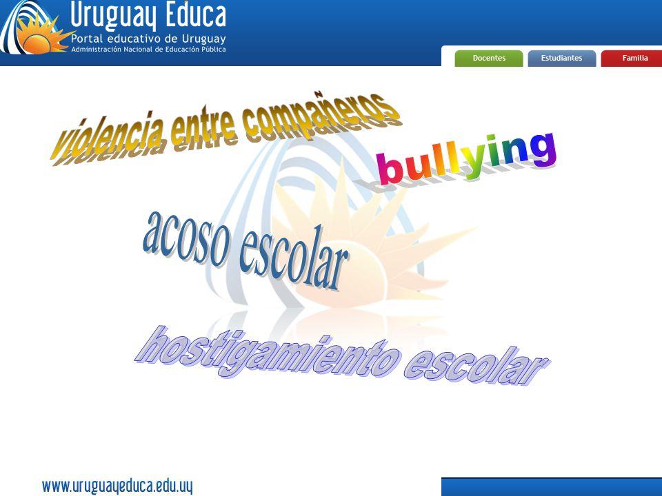 Es cualquier forma de maltrato psicológico, verbal o físico; producido entre escolares de forma reiterada a lo largo de un tiempo determinado.maltratoescolares Se da mayoritariamente en el salón y en el patio de los centros escolares.