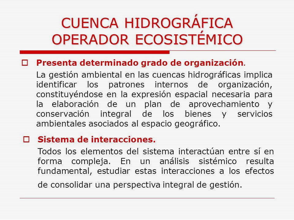 CUENCA HIDROGRÁFICA OPERADOR ECOSISTÉMICO Presenta determinado grado de organización. La gestión ambiental en las cuencas hidrográficas implica identi
