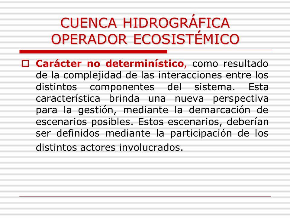 CUENCA HIDROGRÁFICA OPERADOR ECOSISTÉMICO Carácter no determinístico, como resultado de la complejidad de las interacciones entre los distintos compon
