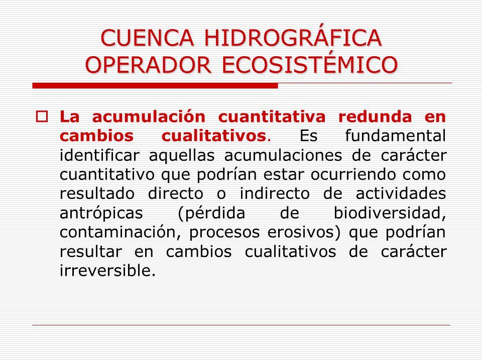 CUENCA HIDROGRÁFICA OPERADOR ECOSISTÉMICO La acumulación cuantitativa redunda en cambios cualitativos. Es fundamental identificar aquellas acumulacion