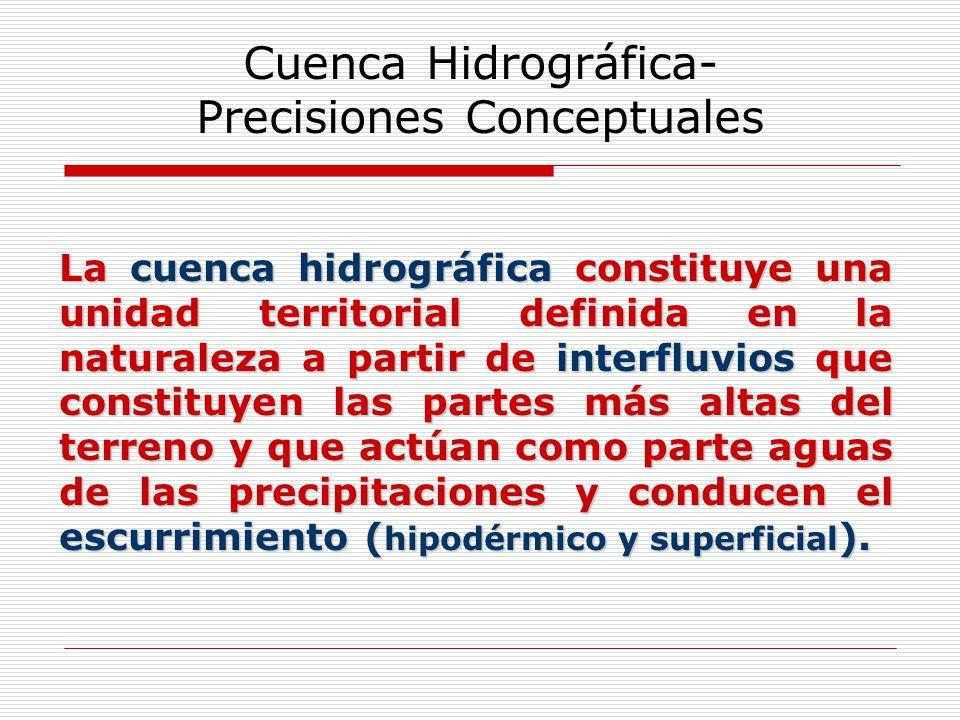 Cuenca Hidrográfica- Precisiones Conceptuales La cuenca hidrográfica constituye una unidad territorial definida en la naturaleza a partir de interfluv