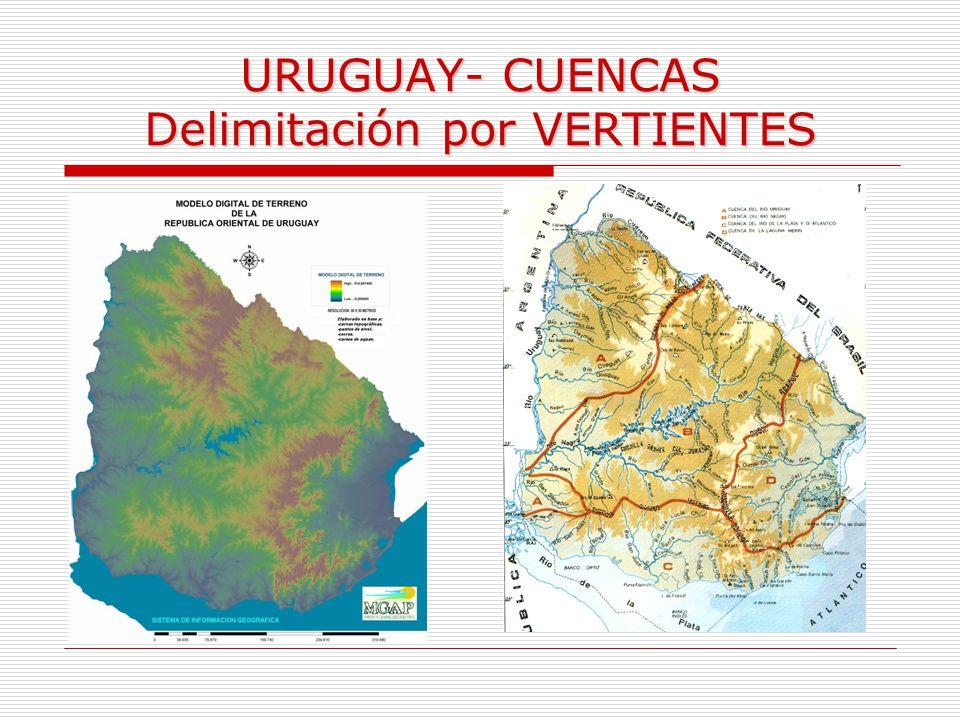 URUGUAY- CUENCAS Delimitación por VERTIENTES