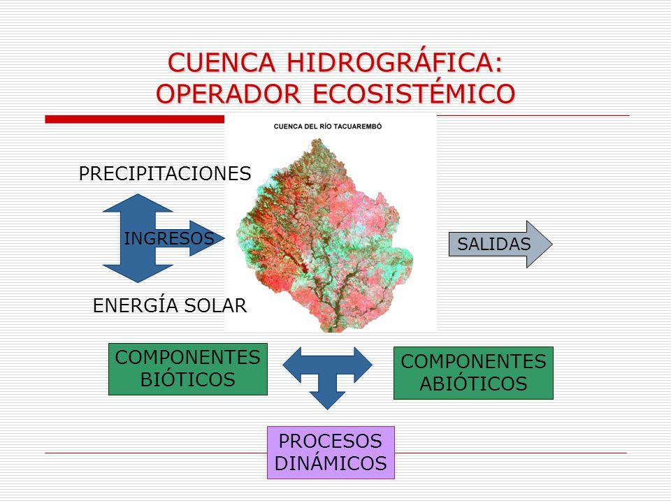 CUENCA HIDROGRÁFICA: OPERADOR ECOSISTÉMICO COMPONENTES BIÓTICOS COMPONENTES ABIÓTICOS PROCESOS DINÁMICOS INGRESOS PRECIPITACIONES ENERGÍA SOLAR SALIDA