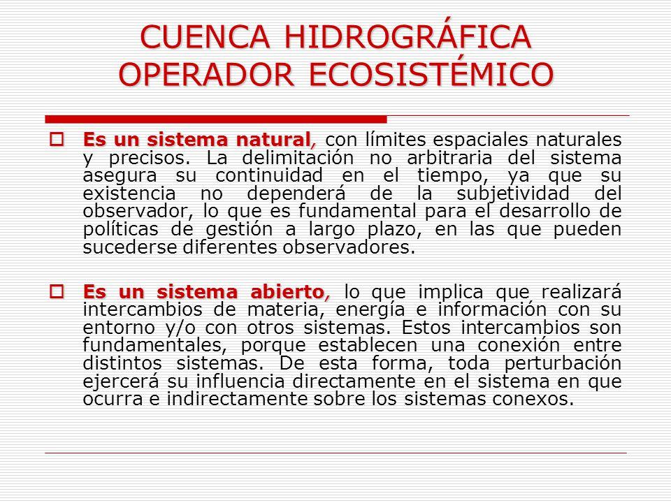 CUENCA HIDROGRÁFICA OPERADOR ECOSISTÉMICO Es un sistema natural, Es un sistema natural, con límites espaciales naturales y precisos. La delimitación n