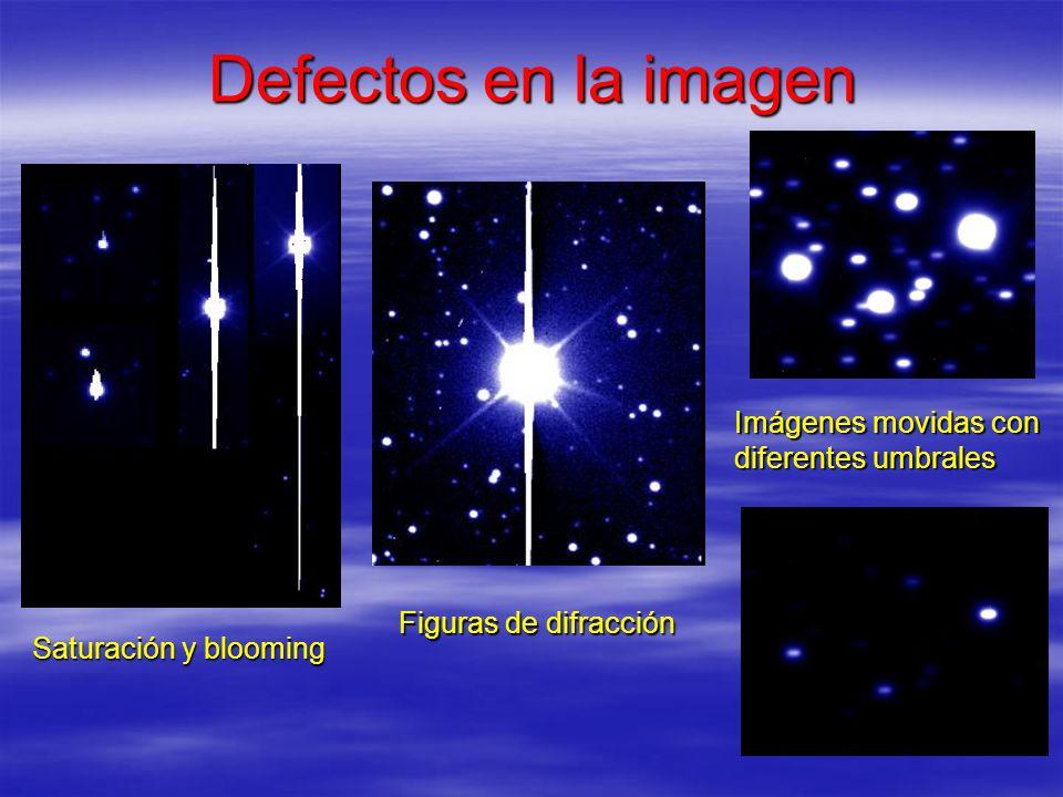 Defectos en la imagen Saturación y blooming Figuras de difracción Imágenes movidas con diferentes umbrales