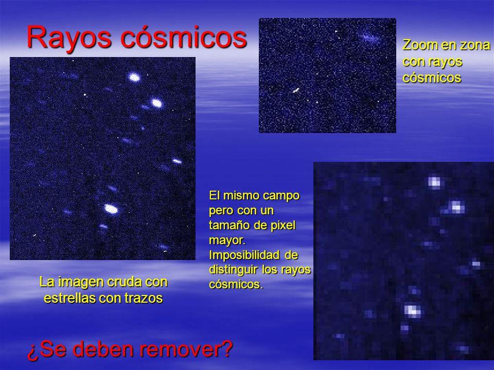 Rayos cósmicos La imagen cruda con estrellas con trazos Zoom en zona con rayos cósmicos El mismo campo pero con un tamaño de pixel mayor. Imposibilida
