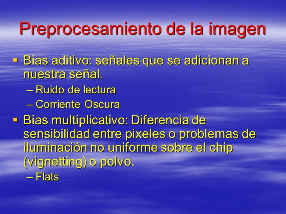 Preprocesamiento de la imagen Bias aditivo: señales que se adicionan a nuestra señal. Bias aditivo: señales que se adicionan a nuestra señal. –Ruido d