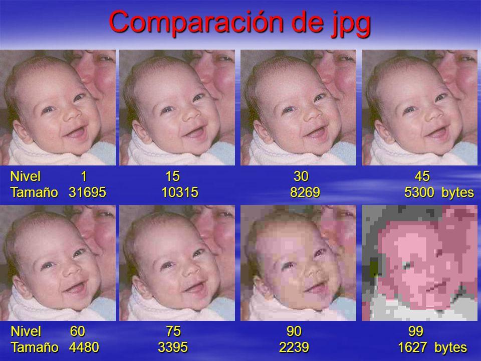 Comparación de jpg Nivel 1 15 30 45 Tamaño 31695 10315 8269 5300 bytes Nivel 60 75 90 99 Tamaño 4480 3395 2239 1627 bytes