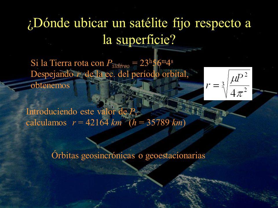 ¿Dónde ubicar un satélite fijo respecto a la superficie? Si la Tierra rota con P sidéreo = 23 h 56 m 4 s Despejando r de la ec. del período orbital, o