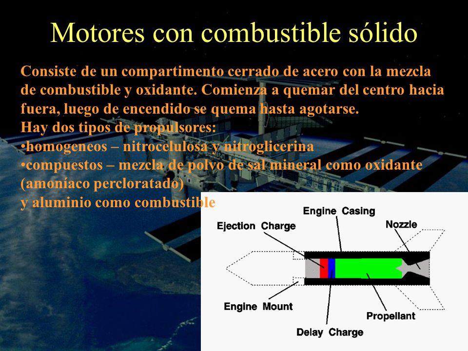 Motores con combustible sólido Consiste de un compartimento cerrado de acero con la mezcla de combustible y oxidante. Comienza a quemar del centro hac