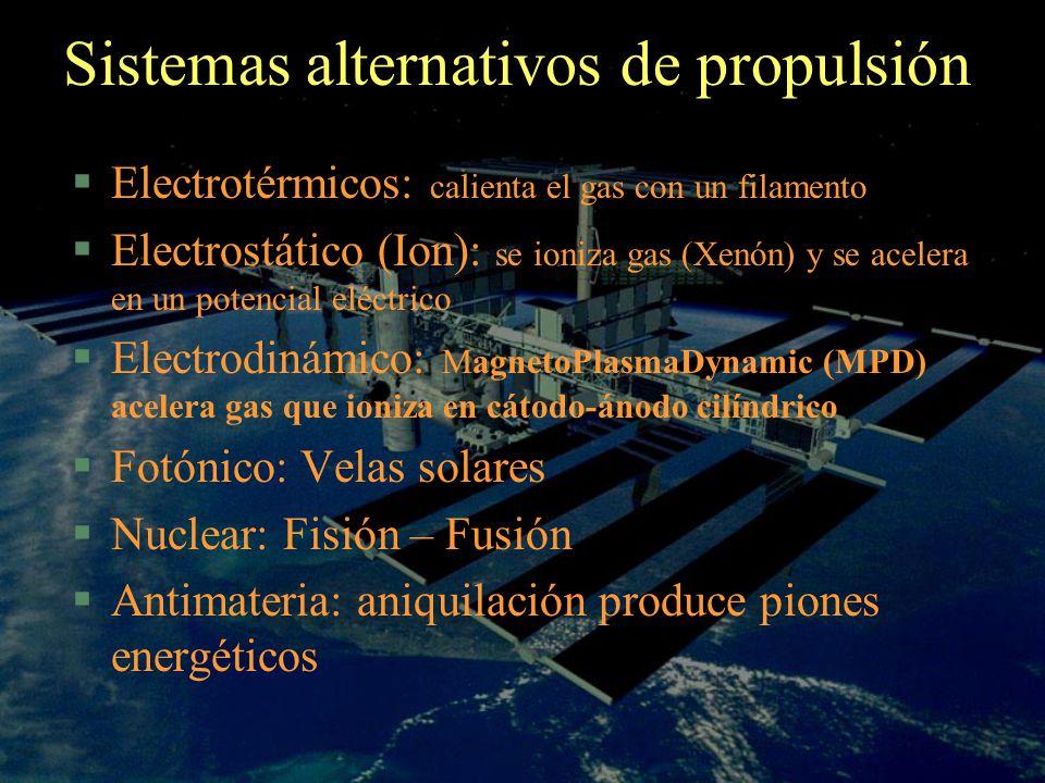 Sistemas alternativos de propulsión Electrotérmicos: calienta el gas con un filamento Electrostático (Ion): se ioniza gas (Xenón) y se acelera en un p