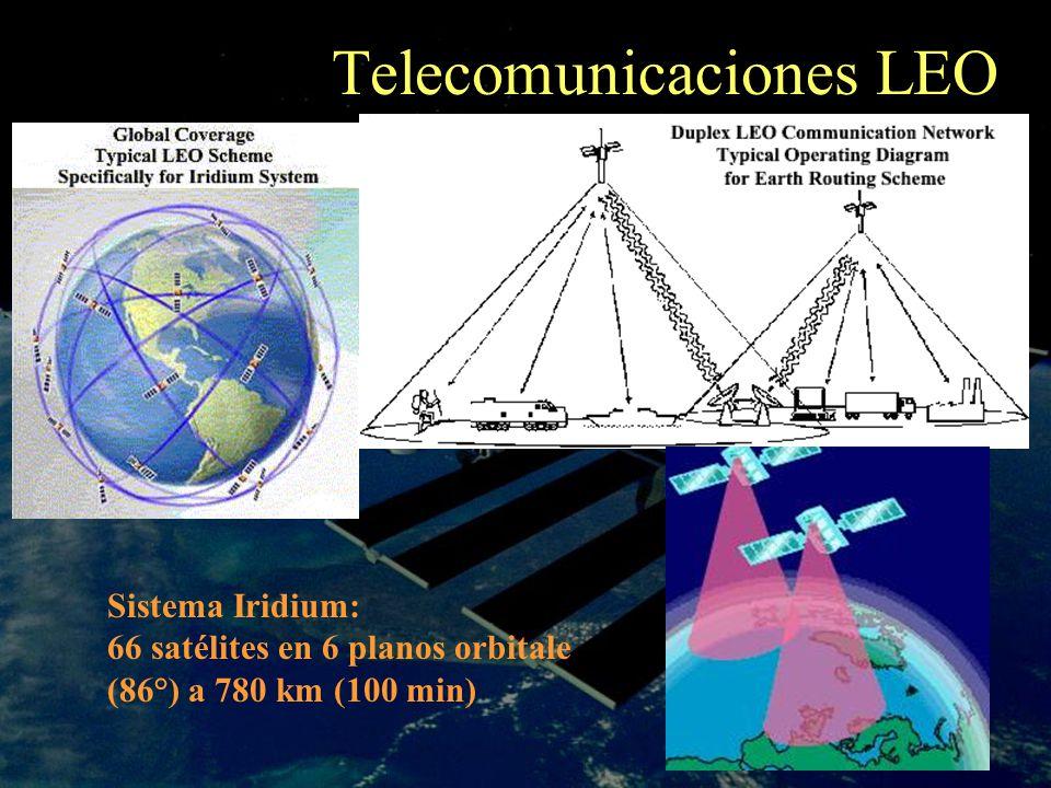 Telecomunicaciones LEO Sistema Iridium: 66 satélites en 6 planos orbitale (86°) a 780 km (100 min)