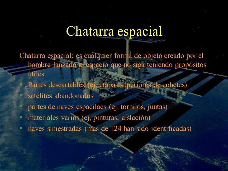 Chatarra espacial Chatarra espacial: es cualquier forma de objeto creado por el hombre lanzado al espacio que no siga teniendo propósitos útiles: §Par