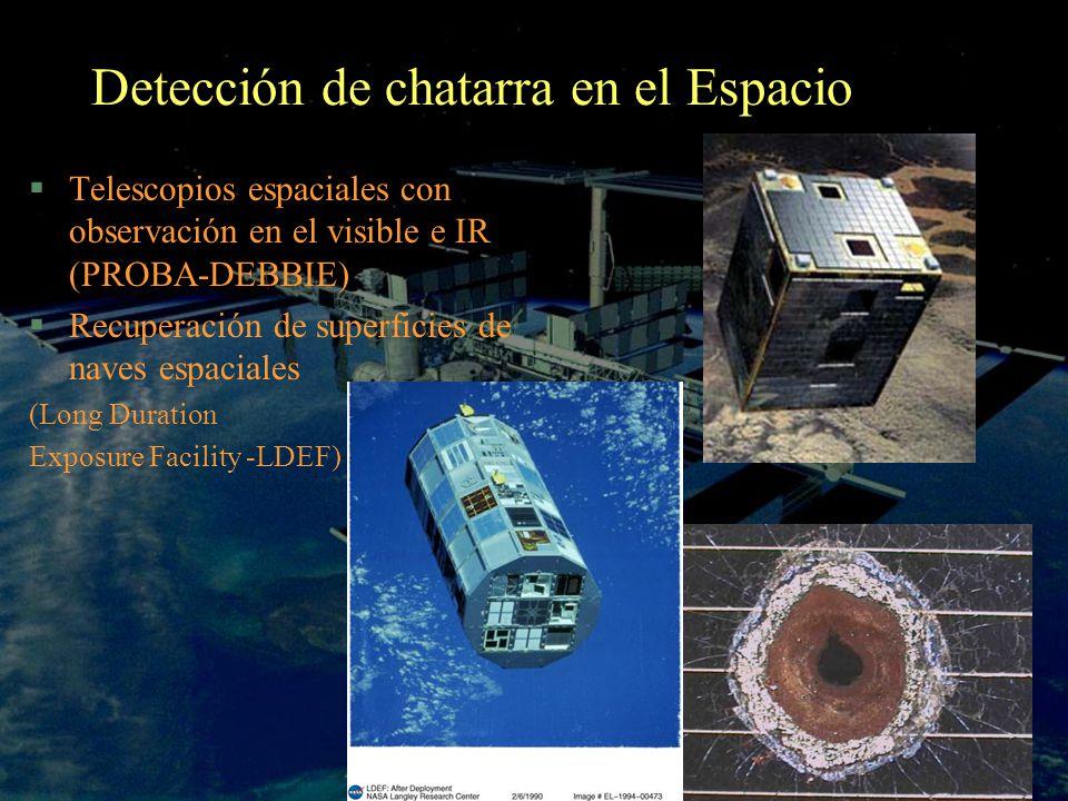 Detección de chatarra en el Espacio §Telescopios espaciales con observación en el visible e IR (PROBA-DEBBIE) §Recuperación de superficies de naves es