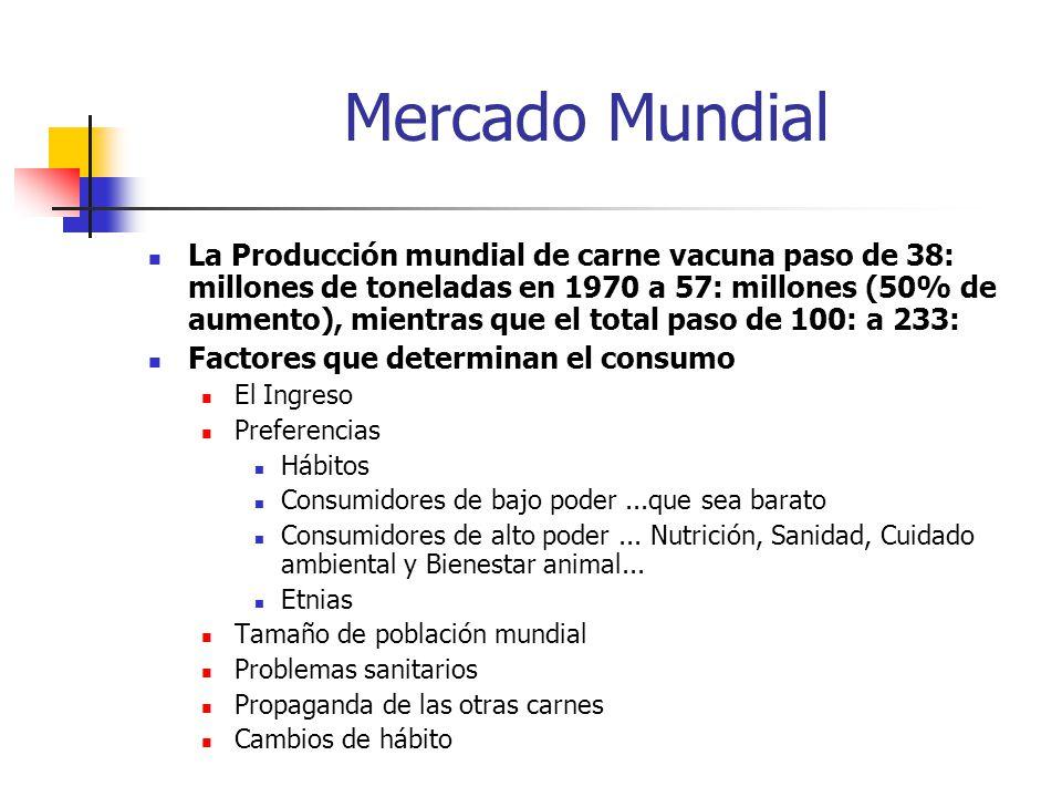Mercado Mundial La Producción mundial de carne vacuna paso de 38: millones de toneladas en 1970 a 57: millones (50% de aumento), mientras que el total paso de 100: a 233: Factores que determinan el consumo El Ingreso Preferencias Hábitos Consumidores de bajo poder...que sea barato Consumidores de alto poder...
